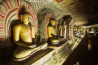 Golden Temple of Dambulla - Major attractions are spread over 5 caves, which contain statues and paintings related to Lord Buddha and his life. There are total of 153 Buddha statues within the caves. The first cave is called Cave of the Divine King.  This cave is dominated by the 14-meter statue of the Buddha, hewn out of the rock.  Cave of the Great Kings - in addition to 16 standing and 40 seated statues of Buddha, are the gods Saman and Vishnu, which pilgrims often decorate with garlands. There is also a dagoba and a spring which drips its water, said to have healing powers, out of a crack in the ceiling.