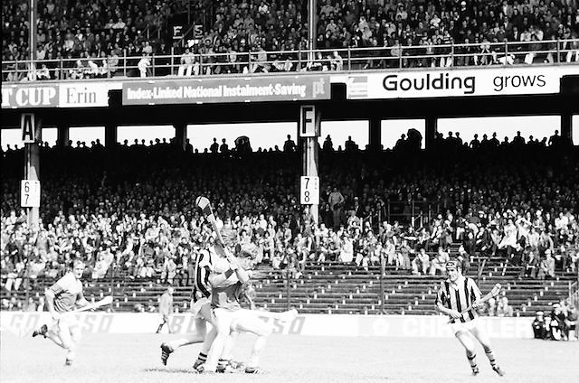 Kilkenny and Wexford mid tackle as both fight to gain the slitor during the All Ireland Senior Leinster Hurling Final Kilkenny v Wexford at Croke Park on the 24th of July 1977. Wexford 3-17 Kilkenny 3-14.