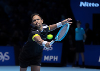 Tennis - 2019 Nitto ATP Finals at The O2 - Day Eight<br /> <br /> Doubles Final : Pierre-Hugues Herbert (FRA) & Nicolas Mahut (FRA) Vs. Raven Klaasen (RSA) & Michael Venus (NZL)<br /> <br /> Raven Klaasen (RSA) stretches to reach the ball as he tries to keep some momentum going for his team <br /> <br /> COLORSPORT/DANIEL BEARHAM