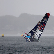 NEWPORT, RHODE ISLAND- OCTOBER 22:  The Spain team of Nil Das Romero and Jordi Llena Prats collide with a bhoy during the Red Bull Foiling Generation World Final 2016 on October 22, 2016 in Narragansett Bay, Newport, Rhode Island. (Photo by Tim Clayton/Corbis via Getty Images)