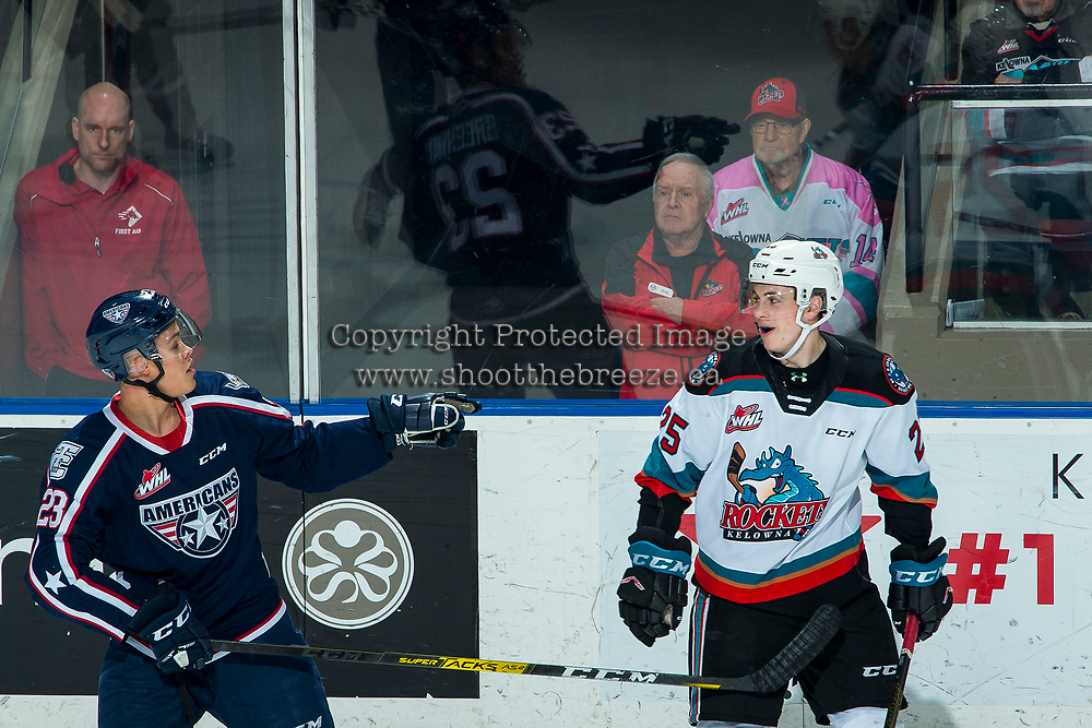 KELOWNA, BC - FEBRUARY 12: Tyson Greenway #23 of the Tri-City Americans exchanges words with Tyson Feist #25 of the Kelowna Rockets in third period at Prospera Place on February 8, 2020 in Kelowna, Canada. (Photo by Marissa Baecker/Shoot the Breeze)