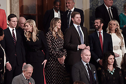 (From Left to Right) Jared kushner ,Ivanka Trump, Lara Trump,Eric Trump, Donald Trump Jr and Tiffany Trump attend President Trump 's State of the Union address to a joint session of the U.S. Congress on Capitol Hill February 5, 2019 in Washington, DC. DC.Photo by Olivier Douliery/ABACAPRESS.COM