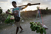 A man carrying freshly harvested vegetables to town in the setting sun outside Dili, capital of Timor Leste.