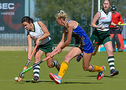 Caitlin Rushton of Clarendon(white)  and Casey-Jean Botha of Eunice during day one of the FNB Private Wealth Super 12 Hockey Tournament held at Oranje Meisieskool in Bloemfontein, South Africa on the 6th August 2016<br /> <br /> Photo by:   Frikkie Kapp / Real Time Images