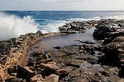 Coastline at Museo de la Sal, Salt museum, Las Salinas del Carmen, Fuerteventura, Canary Islands, Spain