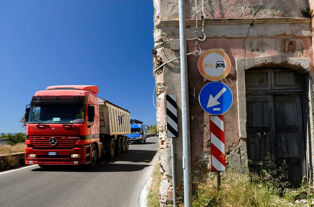 """Brancaleone Marina. The National road N. 106 has the nickname of """"The Death's Road""""  for many road accidents."""