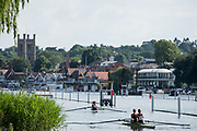 Henley. Berks, United Kingdom. <br /> <br /> Two, Double Sculls, return to the boating area afer their heat at 2017 Henley' Women's Regatta. Rowing on, Henley Reach. River Thames. <br /> <br /> <br /> Saturday  17/06/2017<br /> <br /> <br /> [Mandatory Credit Peter SPURRIER/Intersport Images]