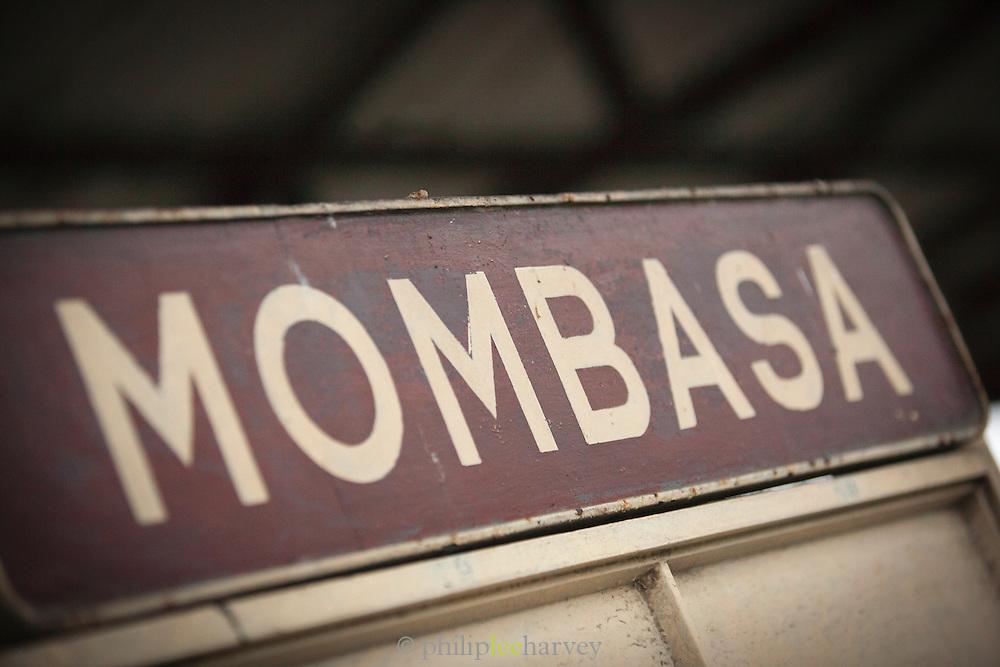 A destination board at the Mombasa train station in Kenya