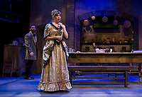 """Jean played by Nicholas Wilder and Miss Julie played by Rebecca Tucker during a dress rehearsal scene Tuesday evening for the production of """"Miss Julie"""" at the Winnipesaukee Playhouse.  (Karen Bobotas/for the Laconia Daily Sun)"""