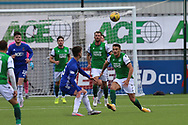 Kyle Magennis (7) of Hibernian closes down during the Betfred Scottish League Cup match between Cove Rangers and Hibernian at Balmoral Stadium, Aberdeen, Scotland on 10 October 2020.