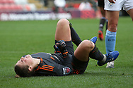 Manchester United goalkeeper Mary Earps (27) lies injured after colliding with Manchester City forward Georgia Stanway (10)  during the FA Women's Super League match between Manchester United Women and Manchester City Women at Leigh Sports Village, Leigh, United Kingdom on 14 November 2020.