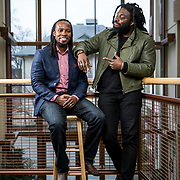 """Authors, Jason Reynolds and Dr. Ibram Kendi at American University, January 14, 2020. Jason Reynolds collaborated with Dr. Kendi to modify his book, Stamped, to create a """"Remix"""" version of the book that explores racism in the United States. Reynolds was recently named the Library of Congress' national ambassador for young people's literature. Dr. Kendi is a 2019 Guggenheim fellow and New York Times best selling author, and currently Executive Director at the Antiracism Center at American University, in Washington, D.C. John Boal for the School Library Journal"""