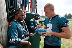 Philadelphia Eagles punter Ken Parrish #3 signs an autograph during the Philadelphia Eagles NFL training camp in Bethlehem, Pennsylvania at Lehigh University on Saturday August 1st 2009. (Photo by Brian Garfinkel)