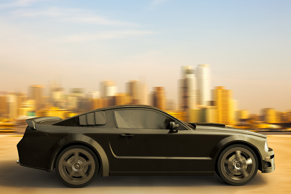 3D rendering of a sport car speeding in front of New York City skyline.