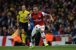 LONDON, ENGLAND - Oct 01: Arsenal's defender Kieran Gibbs from England during the UEFA Champions League match between Arsenal from England and Napoli from Italy played at The Emirates Stadium, on October 01, 2013 in London, England. (Photo by Mitchell Gunn/ESPA)