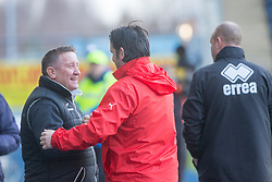 Inverness Caledonian Thistle's manager John Robertson and Falkirk's manager Paul Hartley at the start. Falkirk 3 v 1 Inverness Caledonian Thistle, Scottish Championship game played 27/1/2018 at The Falkirk Stadium.