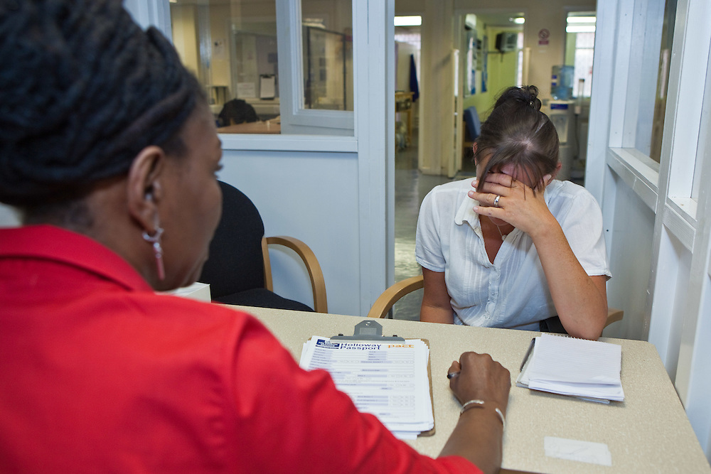 PACT staff interview all new arrivals into the prison discussing their concerns before they begin custody at HMP Holloway, the main womens prison in London.