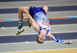 Great Britain's Chris Baker competing in the High Jump competition during day two of the European Indoor Athletics Championships at the Emirates Arena, Glasgow.
