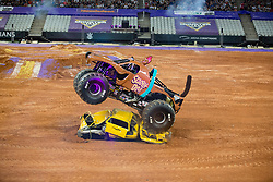 December 16, 2017 - Sao Paulo, Sao Paulo, Brazil - Scooby-Doo jumps over vehicles during a round of racing. Monster Jam was held at Corinthians Stadium, in Sao Paulo, Brazil. (Credit Image: © Paulo Lopes via ZUMA Wire)