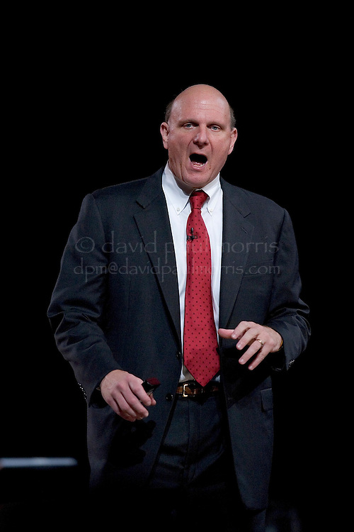 SAN FRANCISCO - NOVEMBER 7:  Microsoft CEO Steve Ballmer gestures during a keynote speech for the launch of Microsoft Visual Studio 2005 and SQL Server 2005 at the Moscone Center November 7, 2005 in San Francisco, California. BizTalk Server 2006 was also featured at the event. Photograph by David Paul Morris
