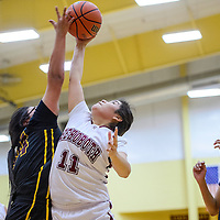 012715       Cable Hoover<br /> <br /> Rehoboth Lynx Talia Bowman (11) grabs a rebound away from the Tohatchi Cougars Tuesday at Rehoboth High School.