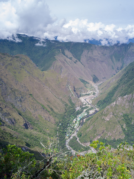 View of the Hidroelectrica (Hydroelectric Power Station) on the Vilcanota River from Machu Picchu. Llactapata is directly above the Hidroelectrica, below the first ridgeline.