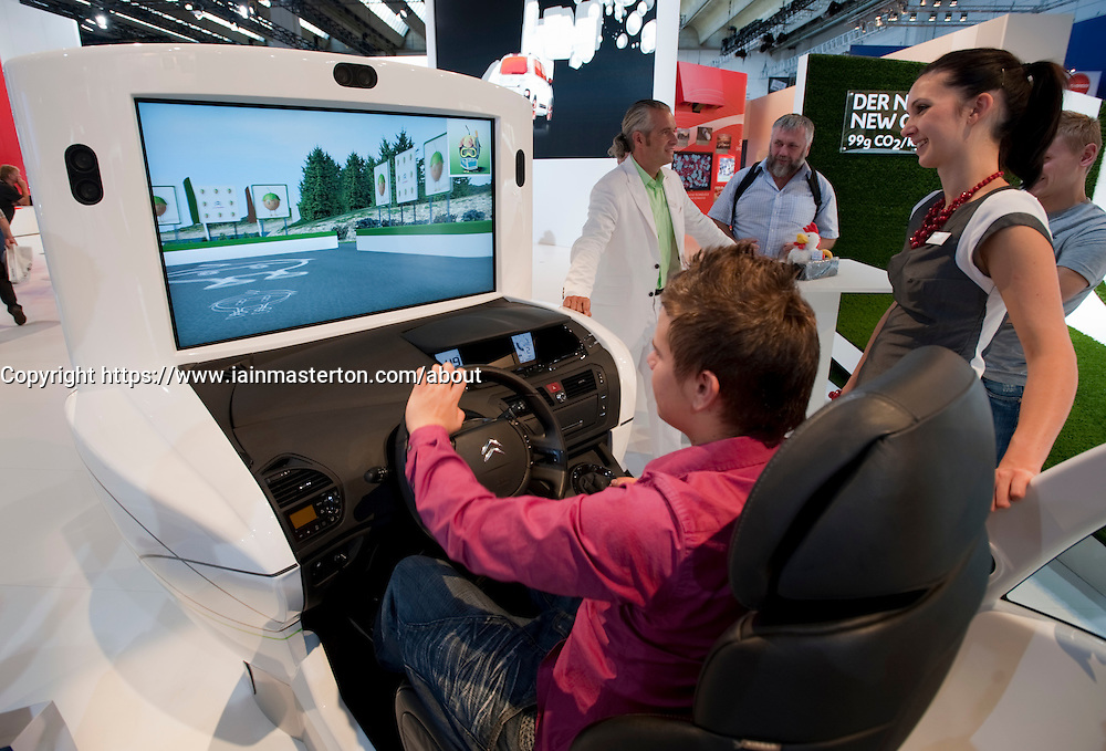Driving simulator with video screen at Citroen stand at the Frankfurt Motor Show 2009