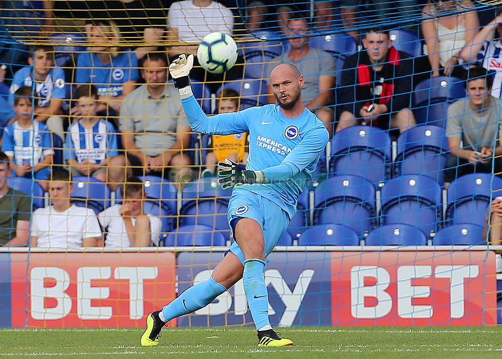 """Brighton and Hove Albion's Goalkeeper David Button during a pre season friendly match at The Cherry Red Records Stadium, Kingston Upon Thames. PRESS ASSOCIATION Photo. Picture date: Saturday July 21, 2018. Photo credit should read: Mark Kerton/PA Wire. EDITORIAL USE ONLY No use with unauthorised audio, video, data, fixture lists, club/league logos or """"live"""" services. Online in-match use limited to 75 images, no video emulation. No use in betting, games or single club/league/player publications."""