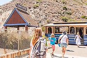 Laguna Beach Trolley Stop Picking Up People from the Festival