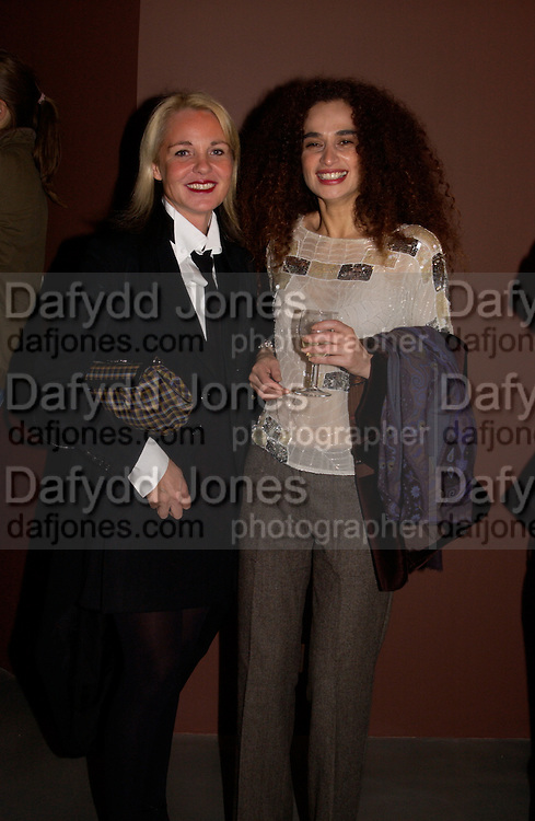 Amanda Elliasch and Danielle Moudabbet, George Condo opening of Religeous paintings, Spruth Magers and Lee,  Berkeley St. 12 October 2004. ONE TIME USE ONLY - DO NOT ARCHIVE  © Copyright Photograph by Dafydd Jones 66 Stockwell Park Rd. London SW9 0DA Tel 020 7733 0108 www.dafjones.com