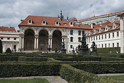 August 14, 2017 - Prague, Czech Republic - The east façade of the palace and portion of the Wallenstein Garden with Prague Castle in the background in Prague, Czech republic, on 14 August 2017. Prague's Wallenstein Palace houses the Czech Senate. However, your garden is open to the public. Is one of the first Gardens that adorned the city. It was created together with the Palace in 1623 in early Baroque style. (Credit Image: © Oscar Gonzalez/NurPhoto via ZUMA Press)