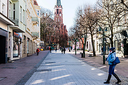 Empty streets in Gdansk during coronavirus outbreak in Poland. Empty streets in Sopot due to the prevailing coronavirus epidemic, Bohaterow Monte Cassino street in Sopot, Poland, on March 14, 2020. Photo by Fotomag/Newspix/ABACAPRESS.COM