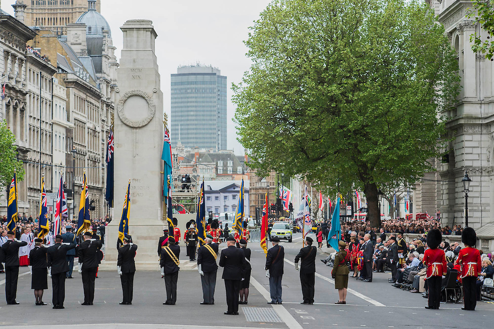The memorial service in Whitehall attended by Prince Andrew, David Cameron, Nick Clegg and Ed Miliband. VE Day 70 commemorations - Three days of events in London and across the UK marking historic anniversary of end of the Second World War in Europe. Trafalgar Square, scene of jubilant celebrations marking the end of the Second World War in Europe on 8 May 1945, plays a central part in a host of national events, which include a Service of Remembrance at the Cenotaph, a concert in Horse Guards Parade, a Service of Thanksgiving at Westminster Abbey, a parade of Service personnel and veterans and a flypast.