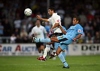 Photo: Rich Eaton.<br /> <br /> Hereford United v Coventry City. Carling Cup. 22/08/2006. Marcus Hall of Coventry, right, and Herefords goalscorer Stuart Fleetwood
