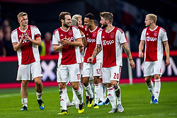 14-08-2018 NED: Champions League AFC Ajax - Standard de Liege, Amsterdam<br /> Third Qualifying Round,  3-0 victory Ajax during the UEFA Champions League match between Ajax v Standard Luik at the Johan Cruijff Arena / Matthijs de Ligt #4 of Ajax, Daley Blind #17 of Ajax, Lasse Schone #20 of Ajax