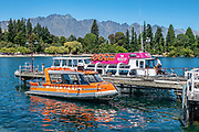Queenstown Bay offers attractive views of The Remarkables, Lake Wakatipu, and beaches in the Otago region, South Island of New Zealand.