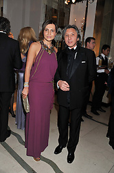 ELLA KRASNER and LEON MAX at a dinner and dance hosted by Leon Max for the charity Too Many Women in support of Breakthrough Breast Cancer held at Claridges, Brook Street, London on 1st December 2011.