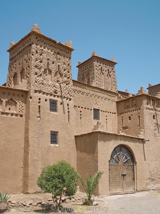 A mud built kasbah turned hotel in the Skoura Oasis, Morocco