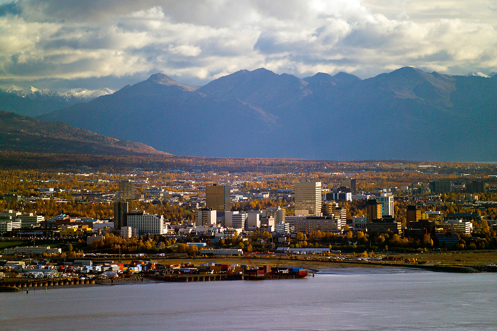 City of Anchorage Alaska  on the shores of Cook Inlet in Autumn