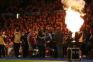 Rey Lee-Lo of Cardiff Blues © enters the field of play ahead of k/o. Guinness Pro12 rugby match, Cardiff Blues v Scarlets at the BT Cardiff Arms Park in Cardiff, South Wales on Friday 28th October 2016.<br /> pic by Andrew Orchard, Andrew Orchard sports photography.