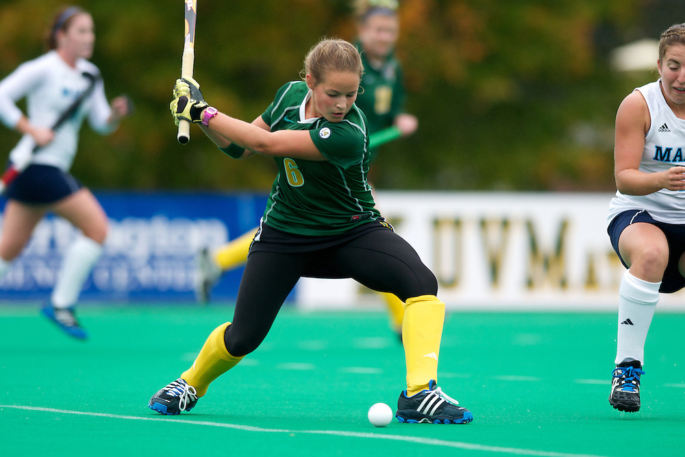 Catamounts forward Taylor Silvestro (6) hits the ball during the women's field hockey game between the Maine Black Bears and the Vermont Catamounts at Moulton/Winder Field on Saturday afternoon September 29, 2012 in Burlington, Vermont.