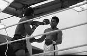 Ali vs Lewis Fight, Croke Park,Dublin.<br /> 1972.<br /> 19.07.1972.<br /> 07.19.1972.<br /> 19th July 1972.<br /> As part of his built up for a World Championship attempt against the current champion, 'Smokin' Joe Frazier,Muhammad Ali fought Al 'Blue' Lewis at Croke Park,Dublin,Ireland. Muhammad Ali won the fight with a TKO when the fight was stopped in the eleventh round.<br /> <br /> Picture of Lewis as he sticks out a left in trying to drive Ali back.