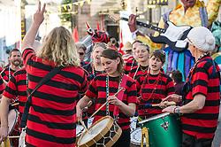 Dakadoum Samba Band takes part in the Penryn Festival in Cornwall