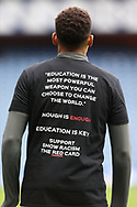 James Tavernier (Rangers) wears the anti-racism t-shirt during warm up during the Scottish Premiership match between Rangers and Livingston at Ibrox, Glasgow, Scotland on 25 October 2020.