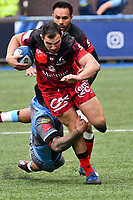 Rugby Union - 2018 / 2019 European Rugby Champions Cup - Pool Three: Cardiff Blues vs. Lyon<br /> <br /> Jeremie Maurouard, of Lyon tackled by Rey Lee-Lo, of Cardiff Blues: , at Cardiff Arms Park.<br /> <br /> COLORSPORT/WINSTON BYNORTH