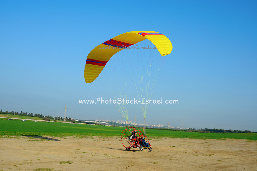 Motor Paragliding at take off Photographed in Israel, Coastal Plains