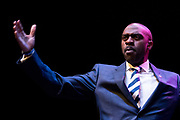 DNC Vice Chair Michael Blake speaks at the Verizon Theater in Grand Prairie, Texas on April 19, 2017. (Cooper Neill for The Texas Tribune)