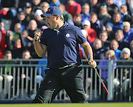 Patrick Reed (USA) celebrates during the Saturday morning Fourballs of the 2014 Ryder Cup at Gleneagles. The 40th Ryder Cup is being played over the PGA Centenary Course at The Gleneagles Hotel, Perthshire from 26th to 28th September 2014.: Picture Kenneth E.Dennis, www.golffile.ie: \27/09/2014\
