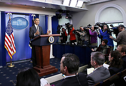 U.S. President Barack Obama briefs press at the White House in Washington D.C. on Feb. 5, 2013. Obama on Tuesday urged Congress to delay massive government spending cuts in the near term, saying government budget policies will have effects on U.S. economic growth., February 5, 2013. Photo by Imago / i-Images...UK ONLY