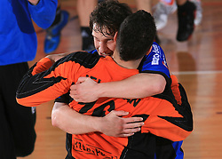 Miha Pucnik and goalkeeper Rok Jelovcan celebrate at Men Slovenian Handball Cup, for 3rd place match between RK Klima Petek Maribor and RK Gorenje Velenje, on April 19, 2009, in Arena Bonifika, Koper, Slovenia. Klima Petek Maribor won 31:25 and placed 3rd. (Photo by Vid Ponikvar / Sportida)